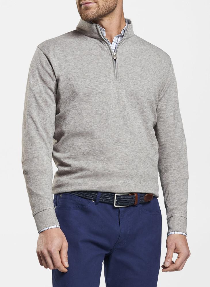Crown Comfort Interlock Quarter-Zip in Light Grey by Peter Millar