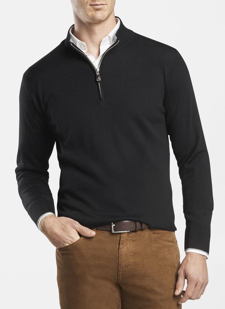 Crown Comfort Cashmere/Silk Quarter-Zip in Black by Peter Millar