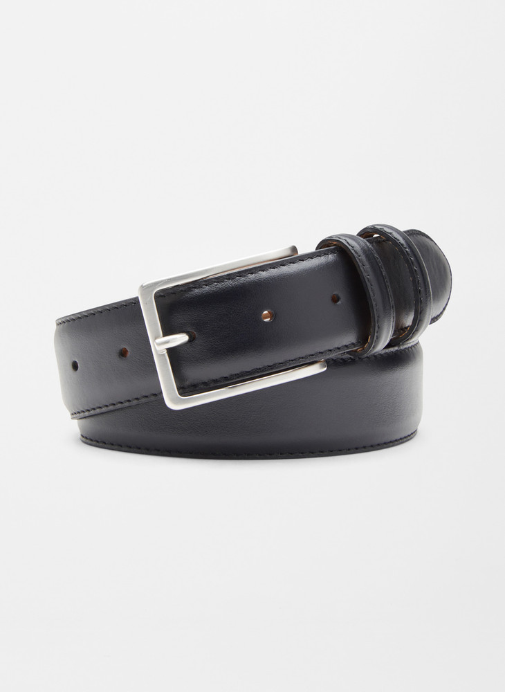 Crown Classic Leather Belt in Black by Peter Millar