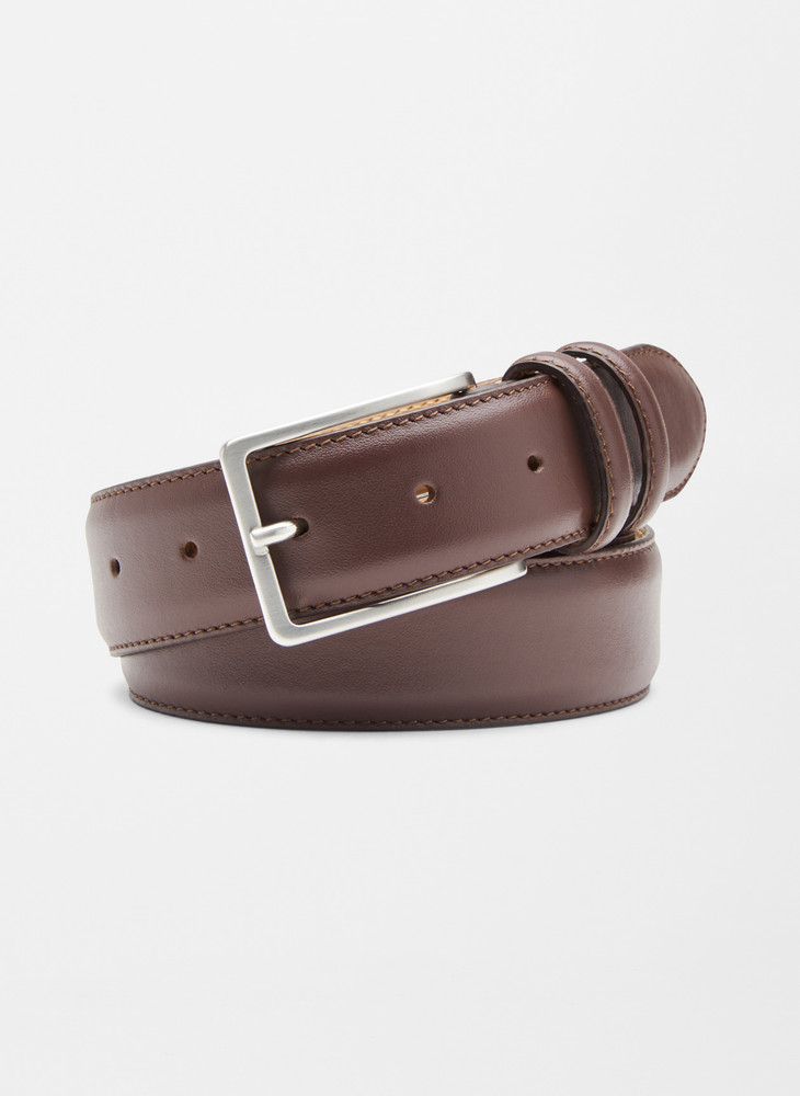 Crown Classic Leather Belt in Brown by Peter Millar