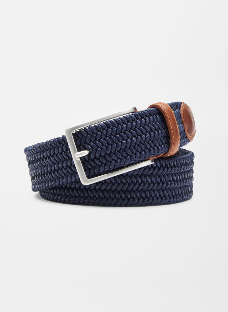 Waxed Braided Belt in Navy by Peter Millar