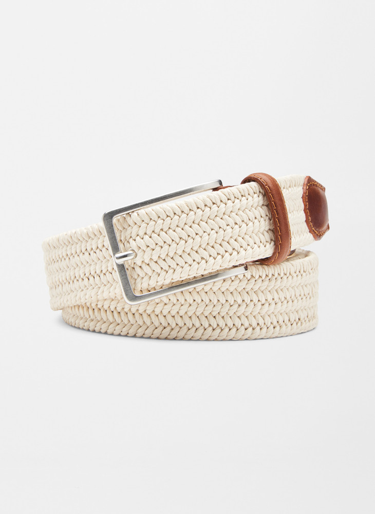 Waxed Braided Belt in Stone by Peter Millar