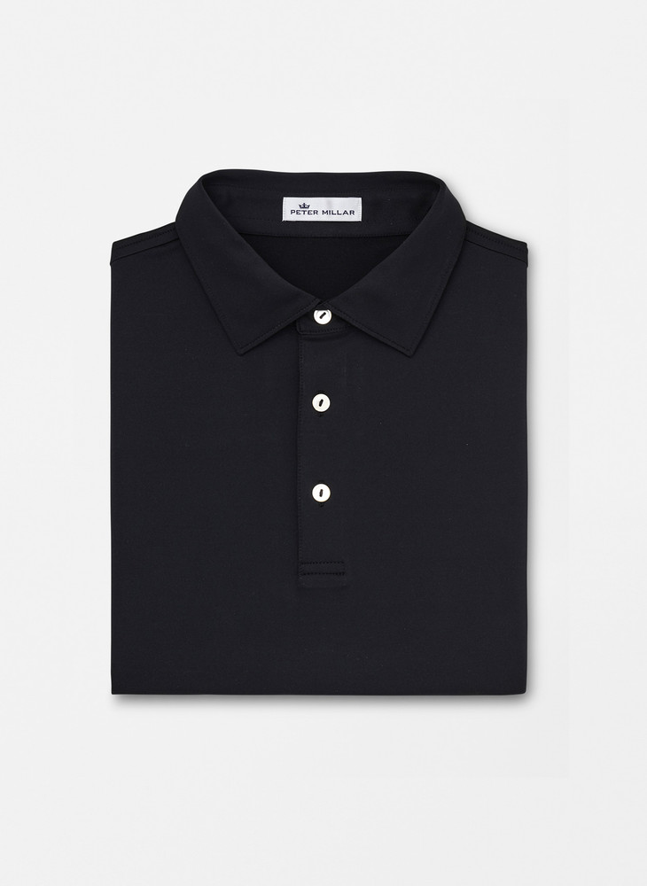 Solid Stretch Jersey 'Crown Sport' Performance Polo with Sean Self Collar in Black by Peter Millar