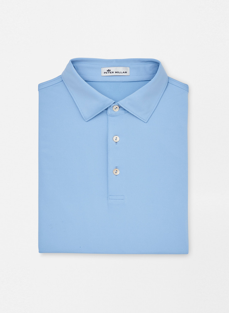 Solid Stretch Jersey 'Crown Sport' Performance Polo with Sean Self Collar in Cottage Blue by Peter Millar