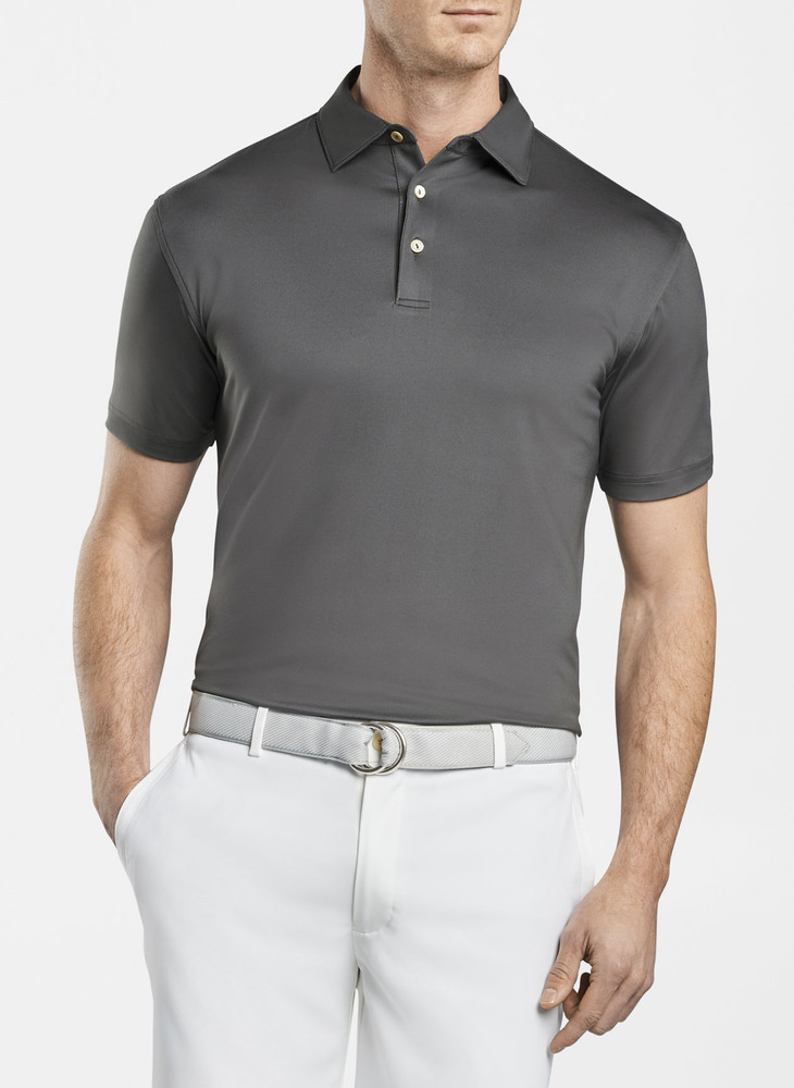 Solid Stretch Jersey 'Crown Sport' Performance Polo with Sean Self Collar in Iron by Peter Millar