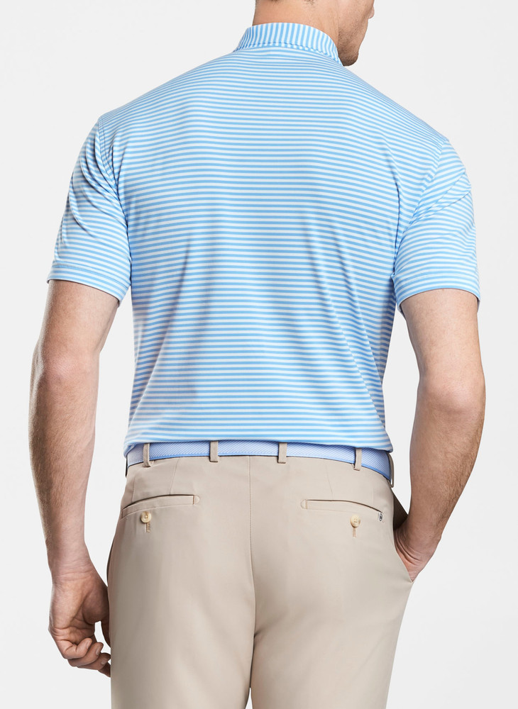 Competition Stripe Stretch Stretch Jersey 'Crown Sport' Performance Polo with Sean Self Collar in Cottage Blue/White by Peter Millar