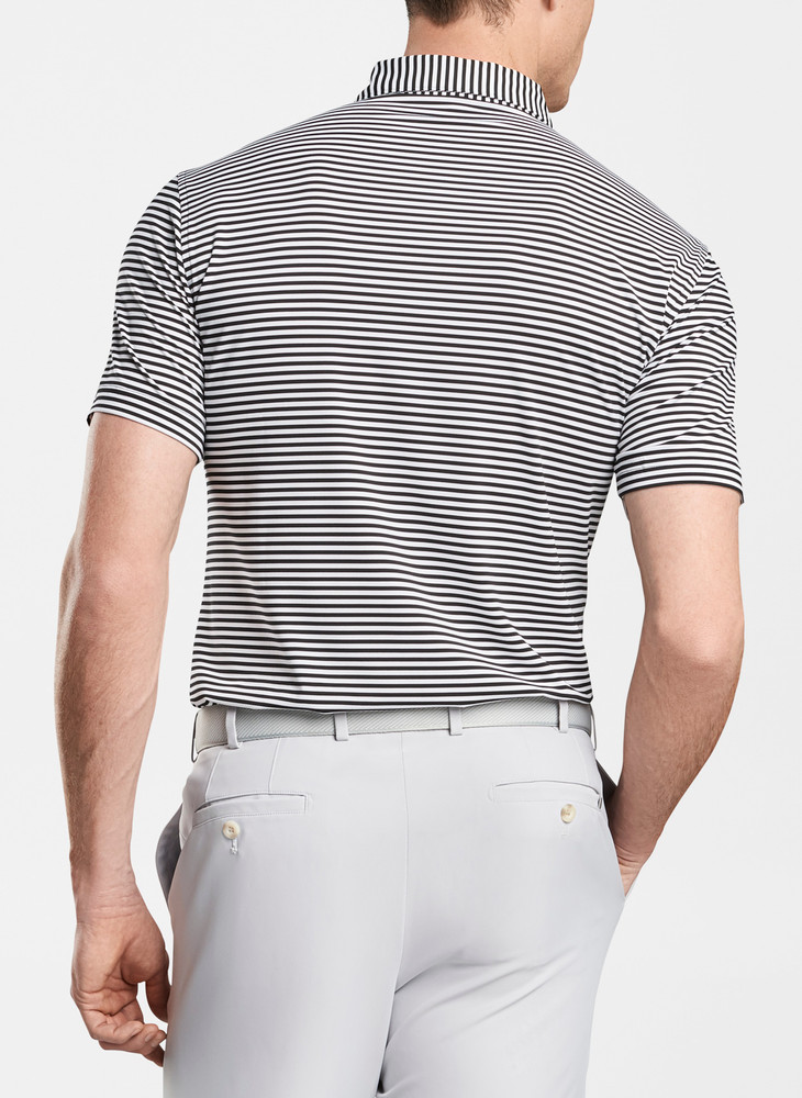 Competition Stripe Stretch Stretch Jersey 'Crown Sport' Performance Polo with Sean Self Collar in Black/White by Peter Millar