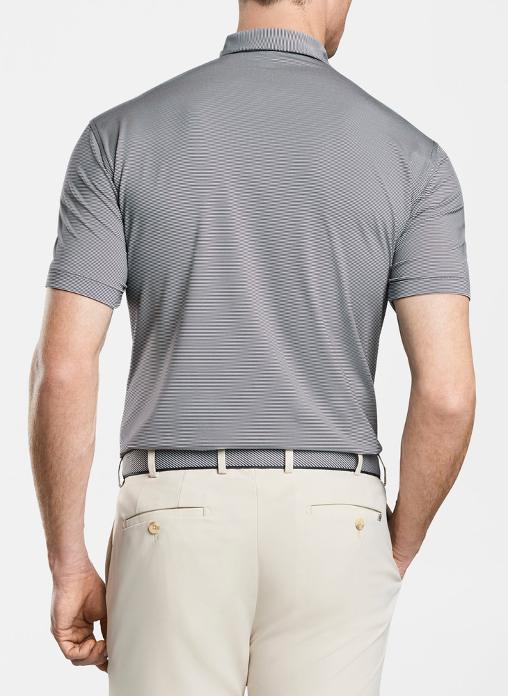 Jubilee Stripe Stretch Jersey 'Crown Sport' Performance Polo with Sean Self Collar in Navy by Peter Millar