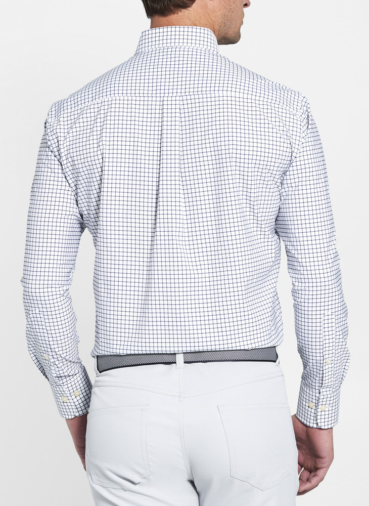 Captain Performance Tattersall Sport Shirt in White/Navy by Peter Millar