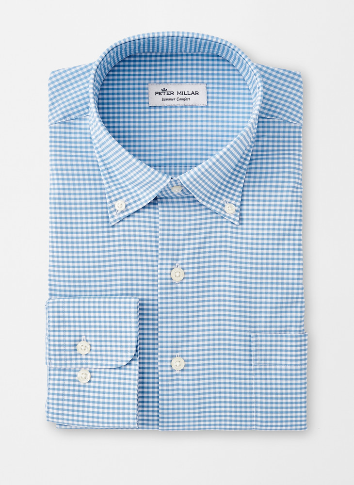 Mimi Performance Check Sport Shirt in Cottage Blue by Peter Millar