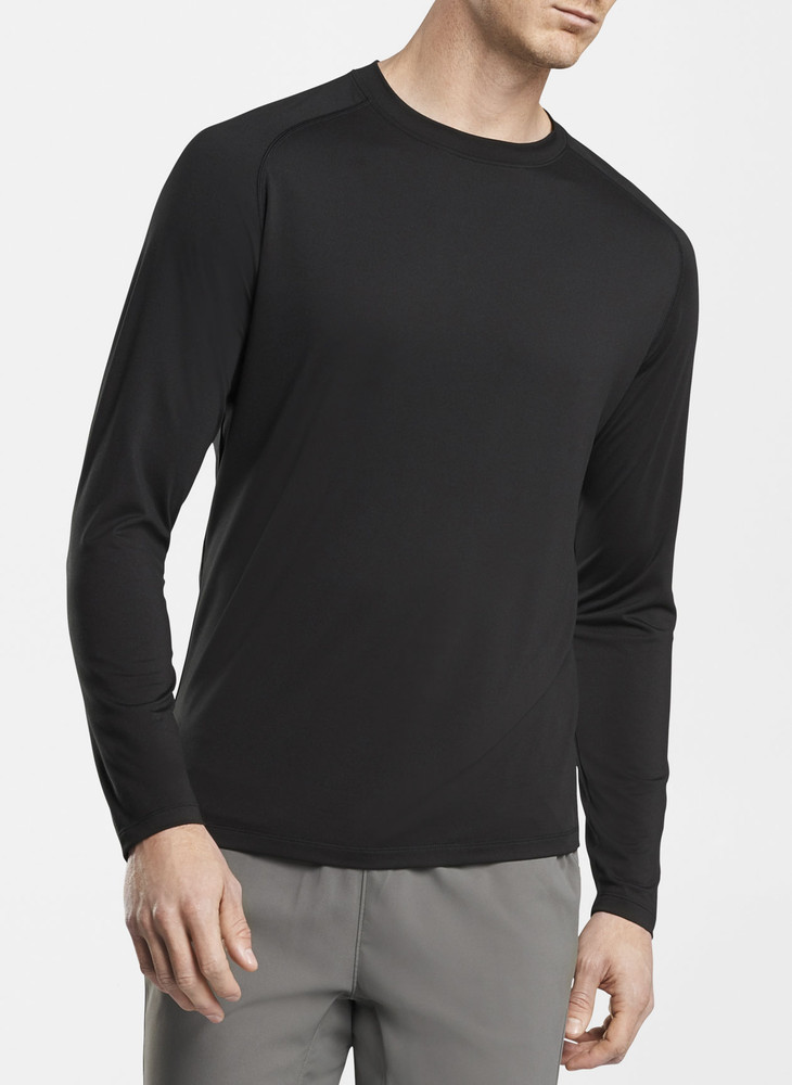 Rio Technical Performance Long-Sleeve T-Shirt in Black by Peter Millar