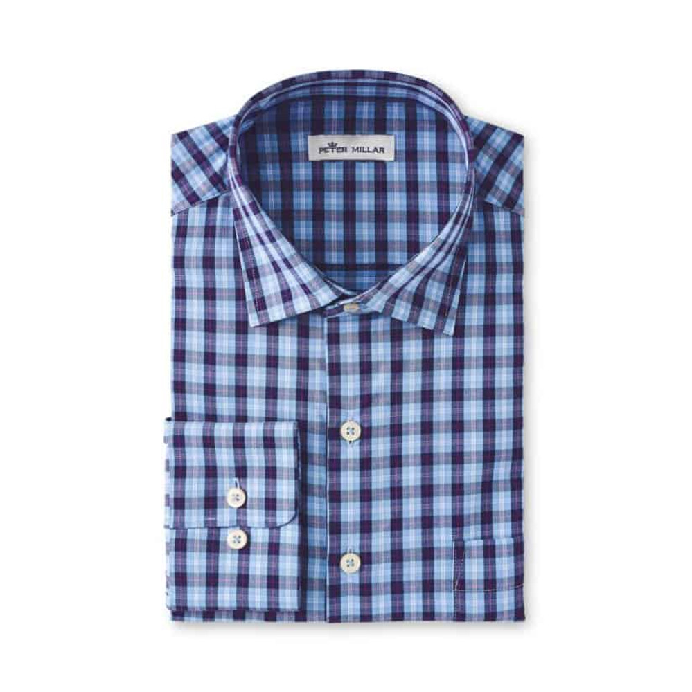 Performance Stretch GILBERT Tartan Woven in Cottage Blue by Peter Millar