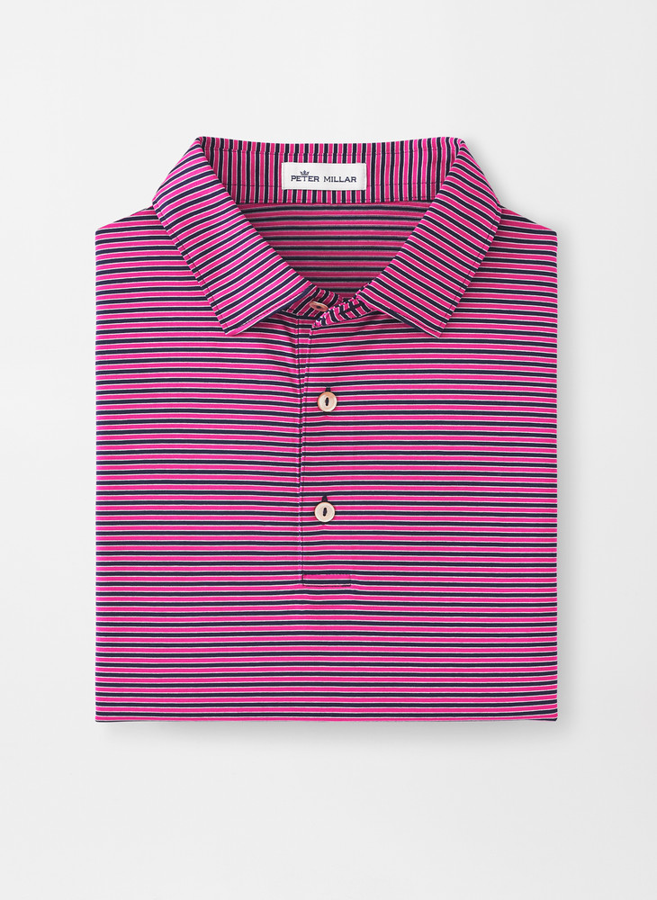 Crown Ease Boulder Stripe Cotton Lisle Polo with Sean Self Collar in Navy/Rhubarb by Peter Millar