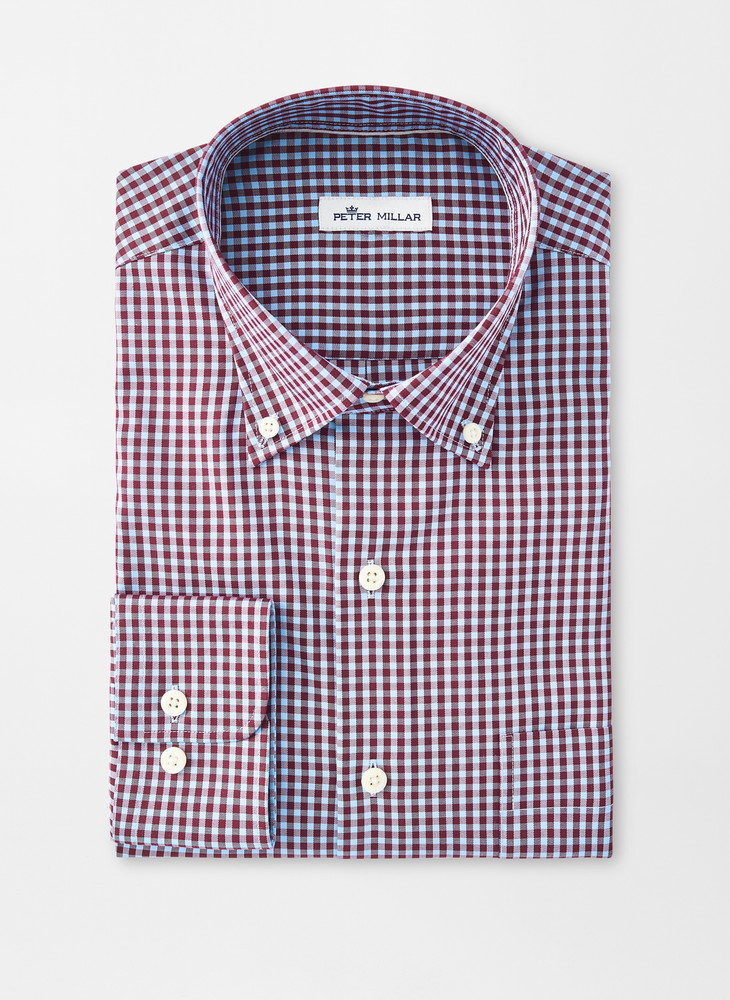 Crown Soft Gingham Sport Shirt in Acai Berry by Peter Millar