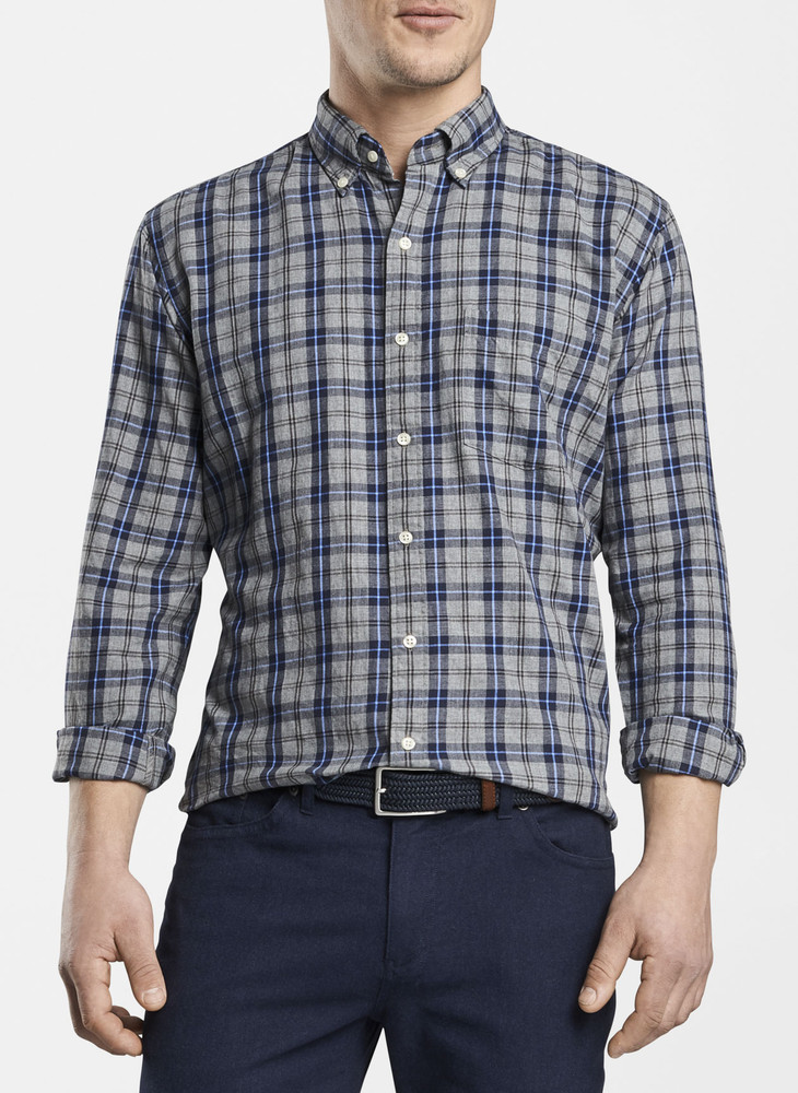 Mountainside Gray's Beach Check Sport Shirt in Gale Grey by Peter Millar