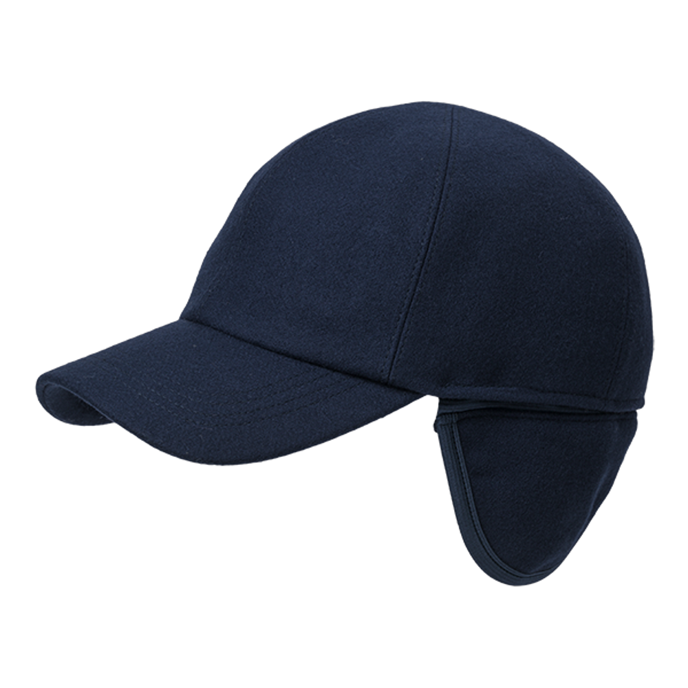 Melton Wool Baseball Cap with earflaps in Choice of Colors by Wigens