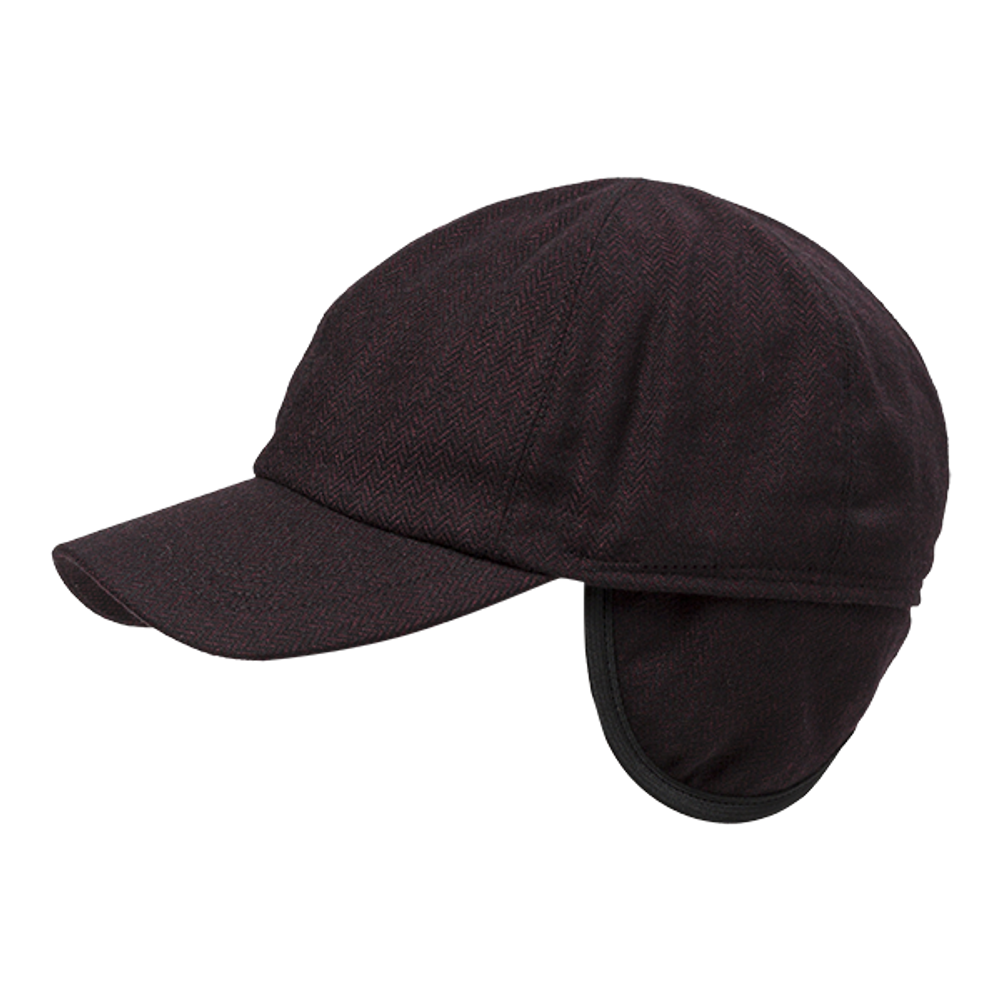 Herringbone Wool Blend Baseball Cap with earflaps in Choice of Colors by Wigens