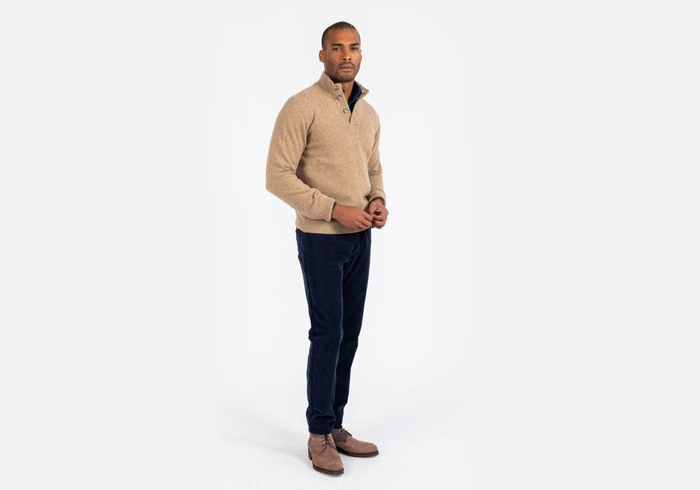 The Caramel Heather Brewer Mock Neck Sweater by Ledbury