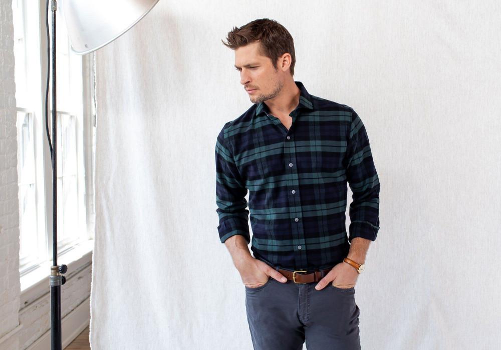 The Navy Gibbs Flannel Casual Shirt by Ledbury