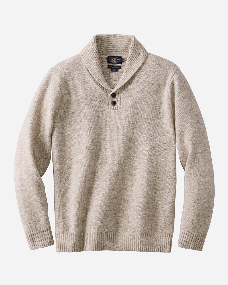 Shetland Shawl Collar Sweater in Oat Heather by Pendleton