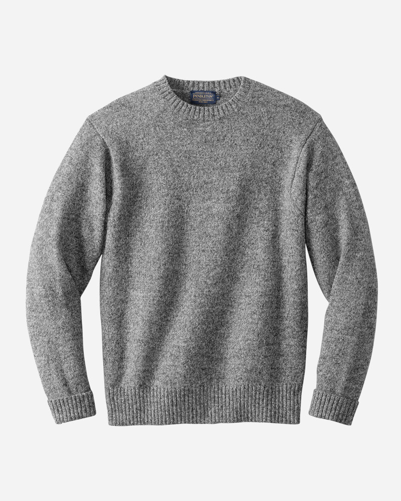Shetland Wool Crew-Neck Sweater in Pepper Marl by Pendleton
