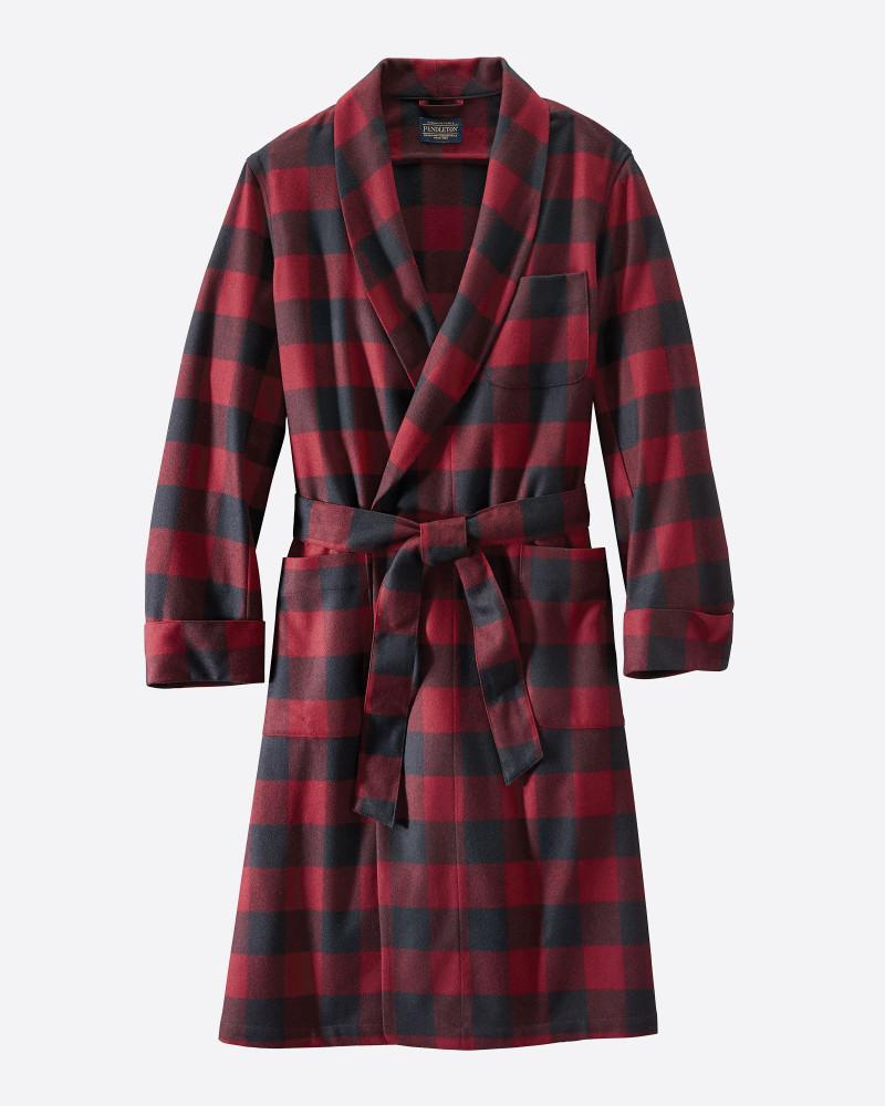 Washable Whisperwool Lounge Robe in Black & Burgundy Buffalo by Pendleton