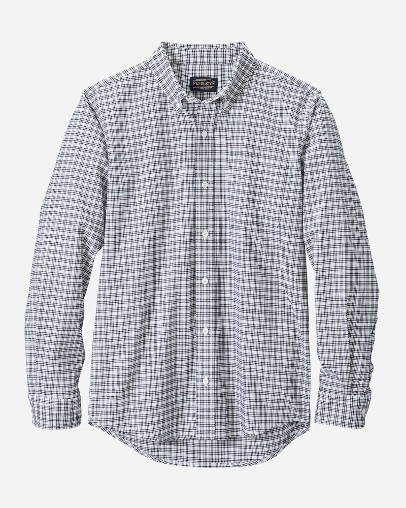 Evergreen Stretch Merino Shirt In White And Navy Plaid by Pendleton