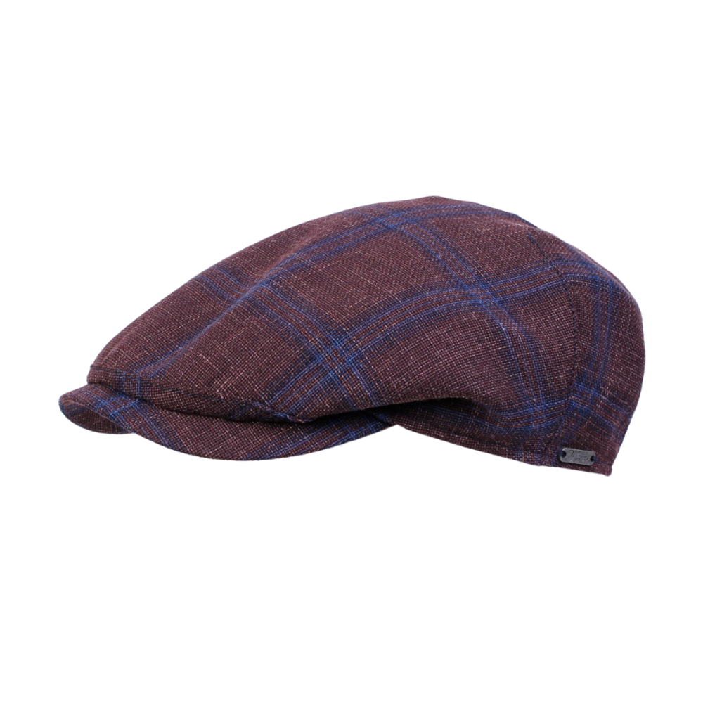 Wool, Silk and Linen Check Ivy One Piece Cap in Burgundy by Wigens