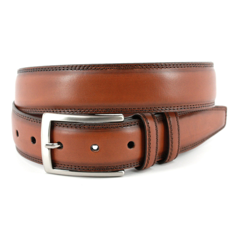 Hand Stained Italian Kipskin Belt in Walnut by Torino Leather Co.