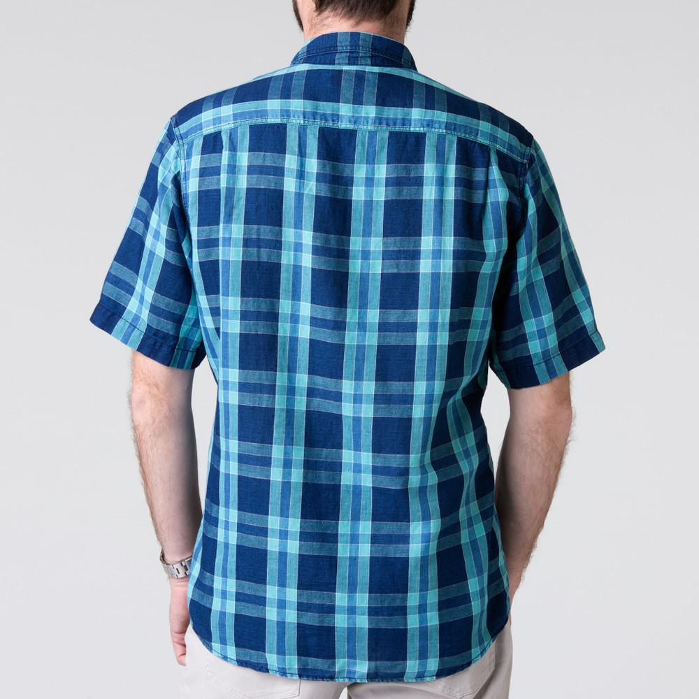 Short Sleeve Quinn Work Shirt in Indigo Plaid by H. Goose