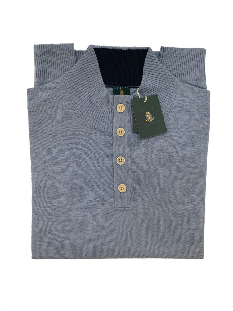Four Button Crew Pullover in Chambry by Robert Talbott