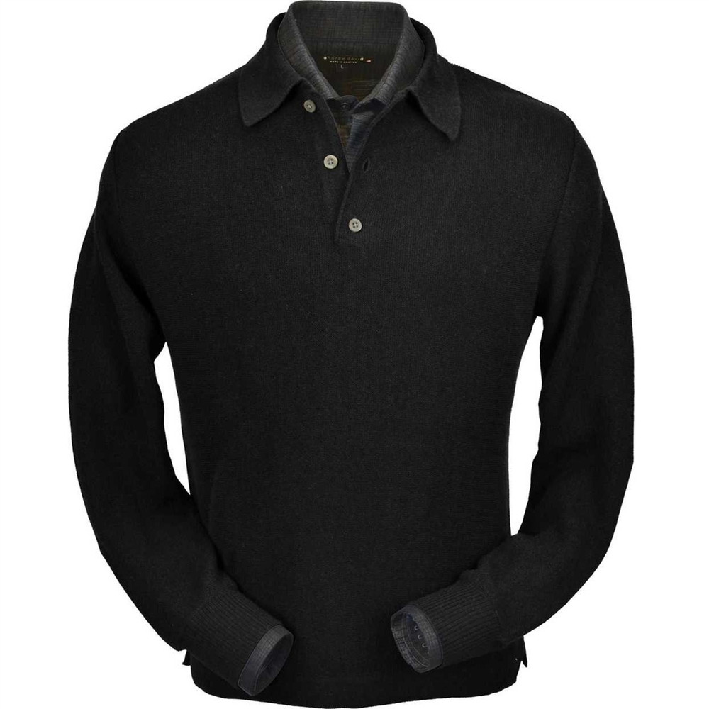 Baby Alpaca Link Stitch Polo Sweater with Open Bottom in Black by Peru Unlimited
