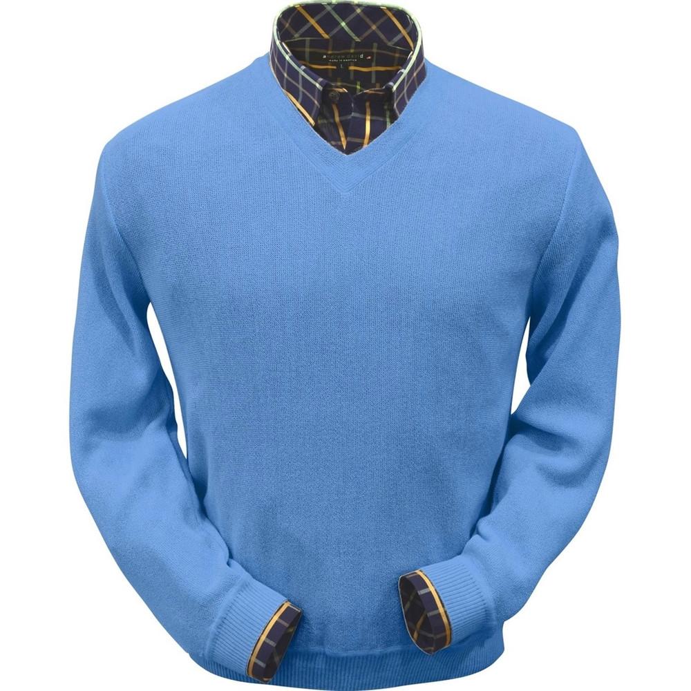 Baby Alpaca Link Stitch V-Neck Sweater in Atlantic Blue by Peru Unlimited
