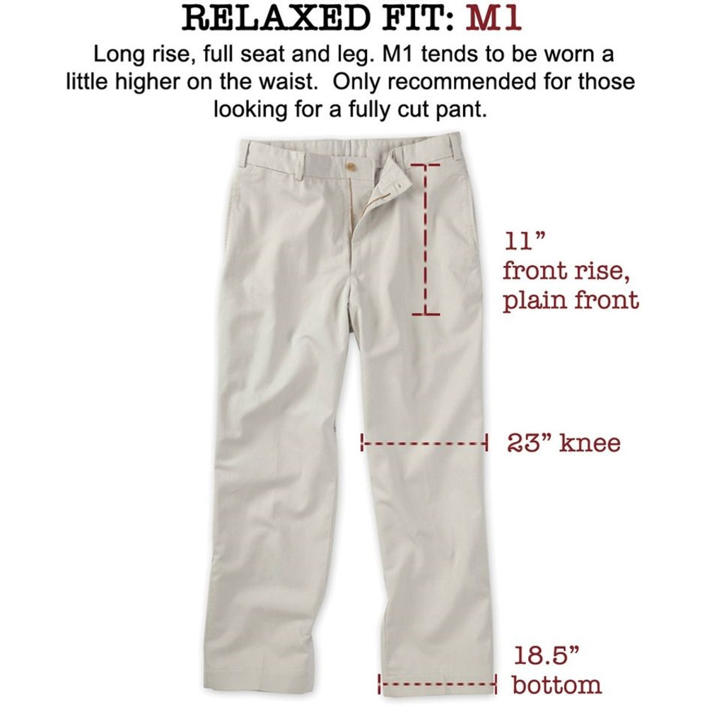 Original Twill Pant - (Size35x26.5) Model M1 Relaxed Fit Plain Front in Cement by Bills Khakis