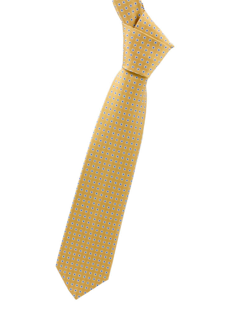 Yellow and Blue Geometric Woven Silk Tie by Robert Jensen