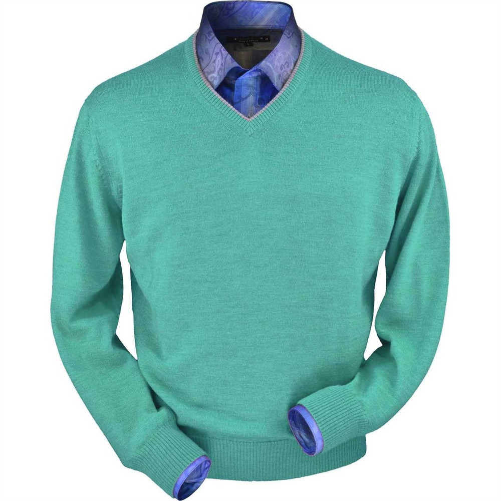 Royal Alpaca V-Neck Sweater in Aqua Heather (Size Large) by Peru Unlimited