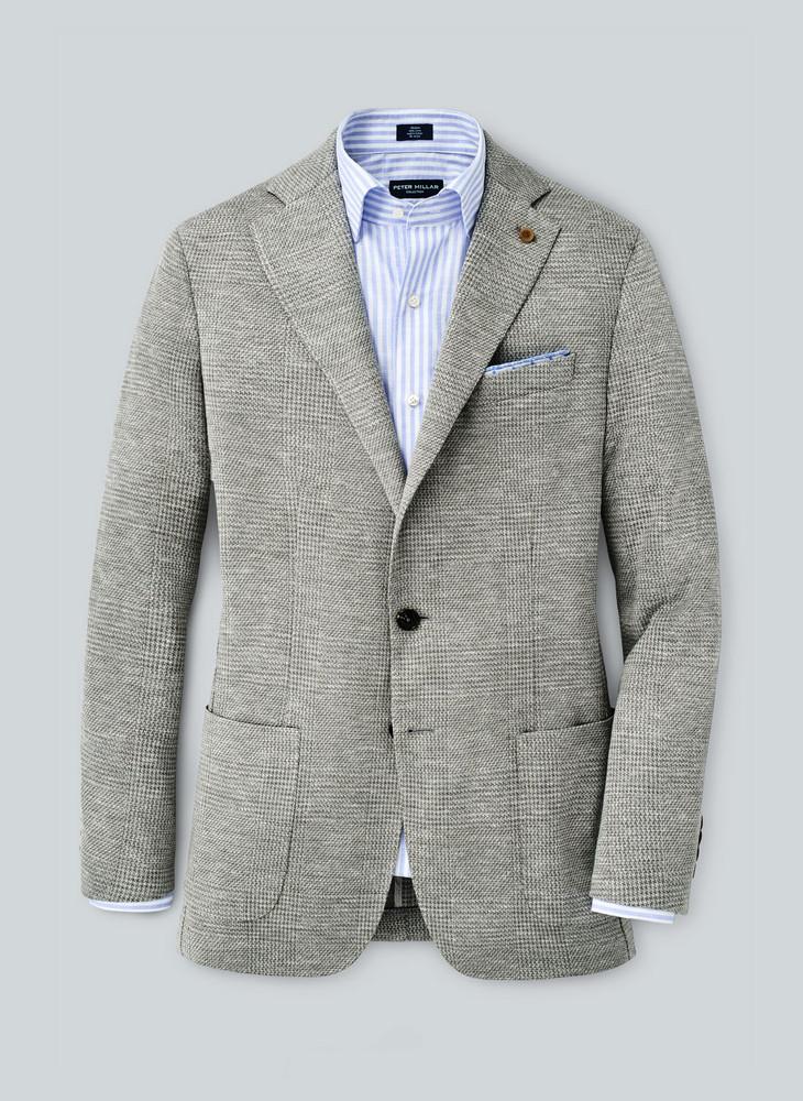 Villa Plaid Jersey Soft Jacket in Argento by Peter Millar