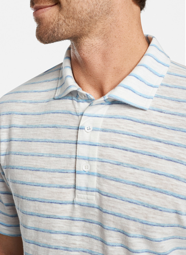 Albemarle Striped Slub Polo in White by Peter Millar