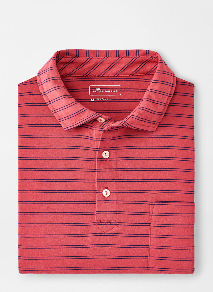 Dunns Aqua Cotton Polo with Pocket in Hyannis Red by Peter Millar