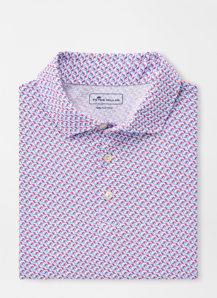 Birds of Paradise Aqua Cotton Polo in Lazuline by Peter Millar