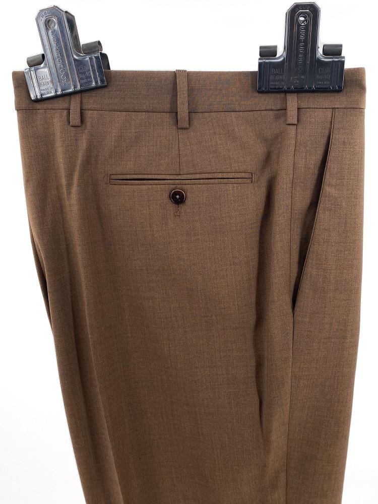 'Bennett' Super 120's Tropical Wool Trouser in Brown by Zanella