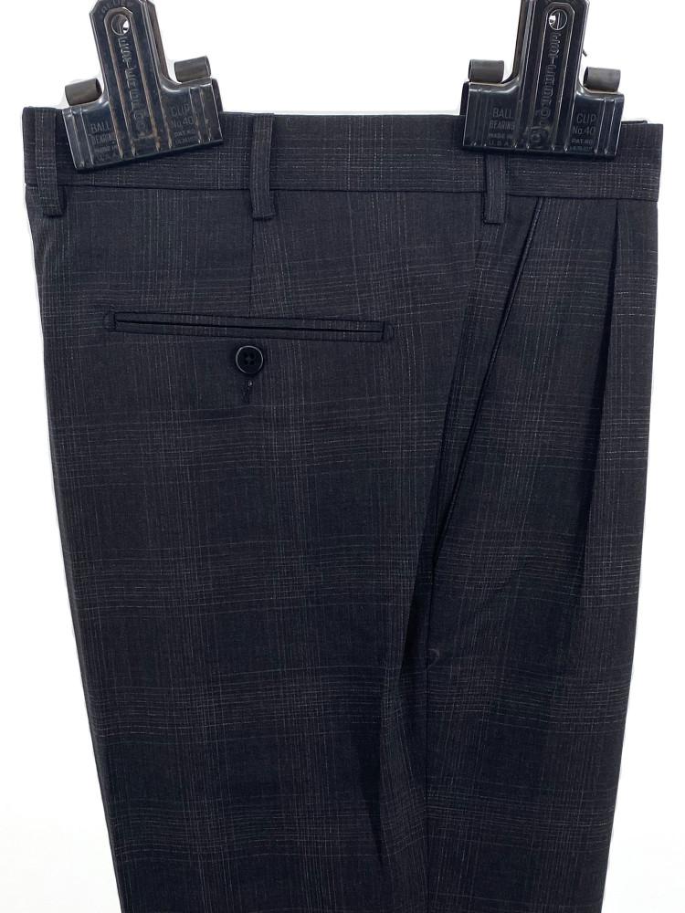 'Bennett' Tonal Glen Plaid Wool Trouser in Charcoal by Zanella