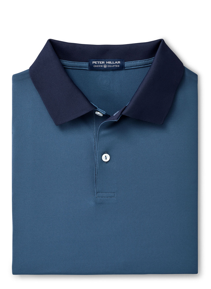 Moon Performance Piqué Polo in Blue Agate by Peter Millar