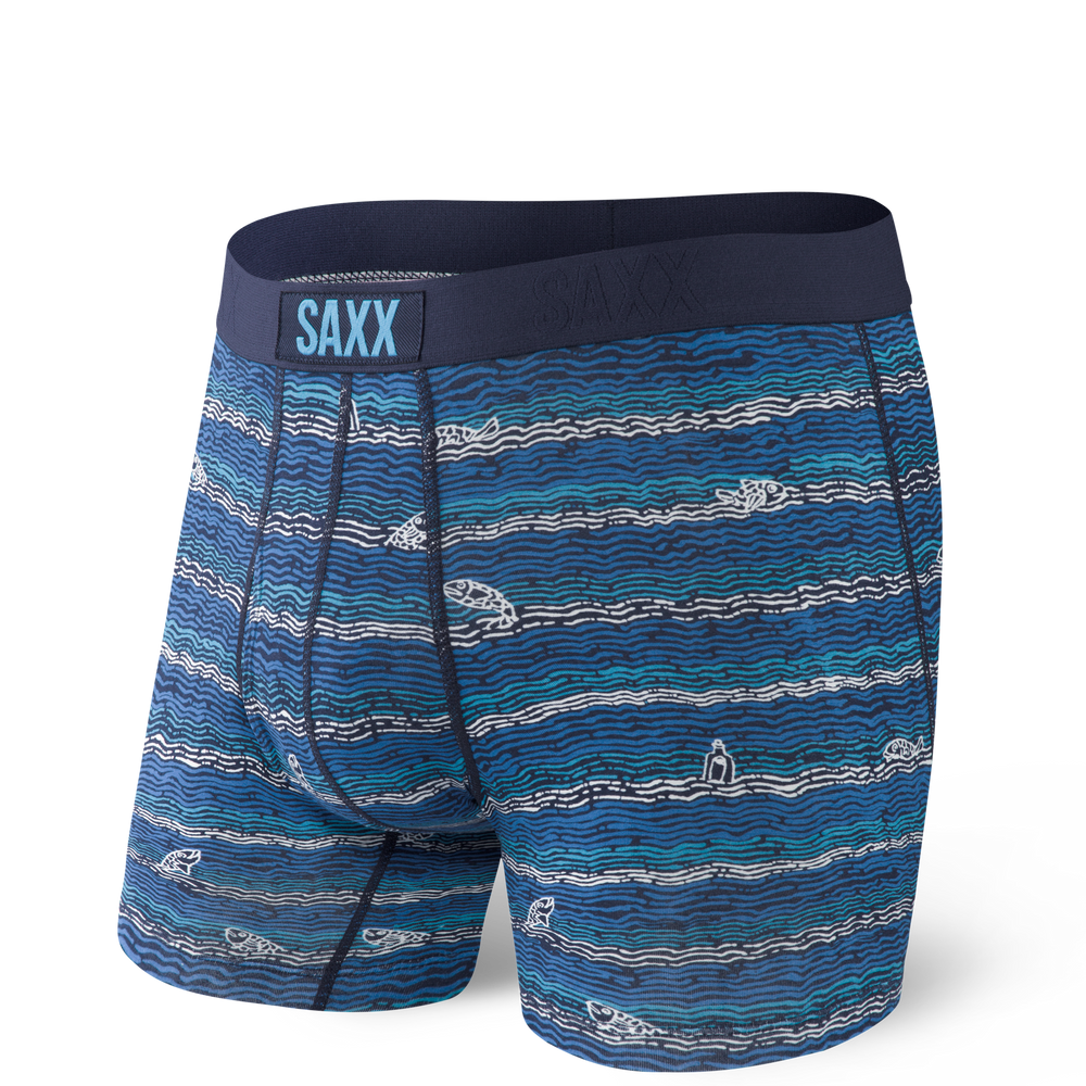 Ultra Boxer Brief in Navy Fishing Line by SAXX Underwear Co.