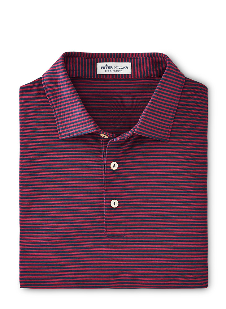 Comers Performance Polo in Navy and Pomegranate by Peter Millar