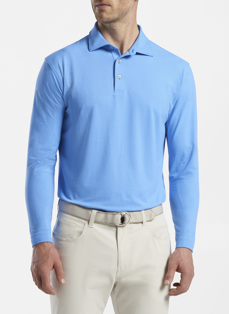 Lyons Stripe Performance Long-Sleeve Polo in Cape Blue by Peter Millar