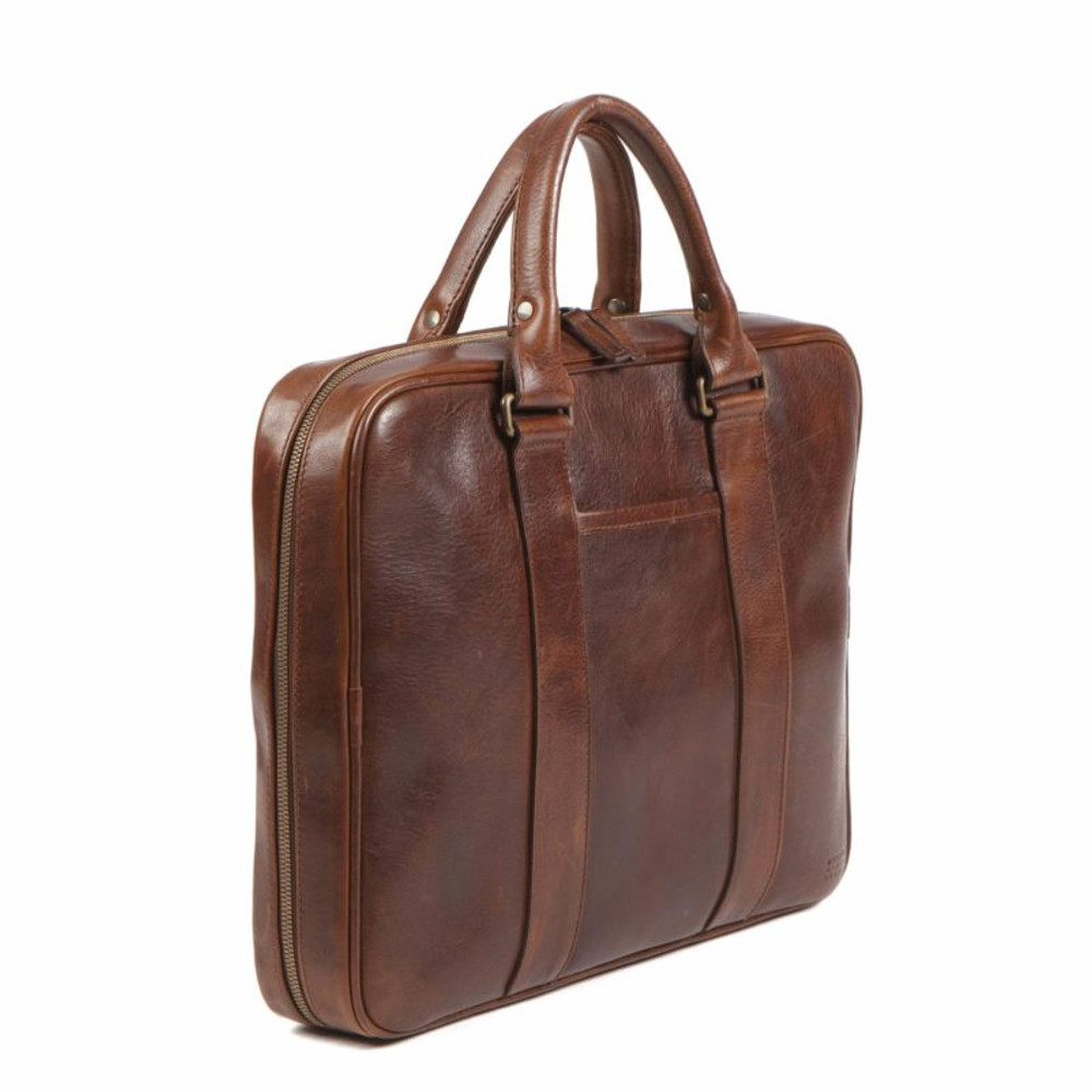 Bryant Tech Briefcase in Titan Milled Brown by Moore & Giles