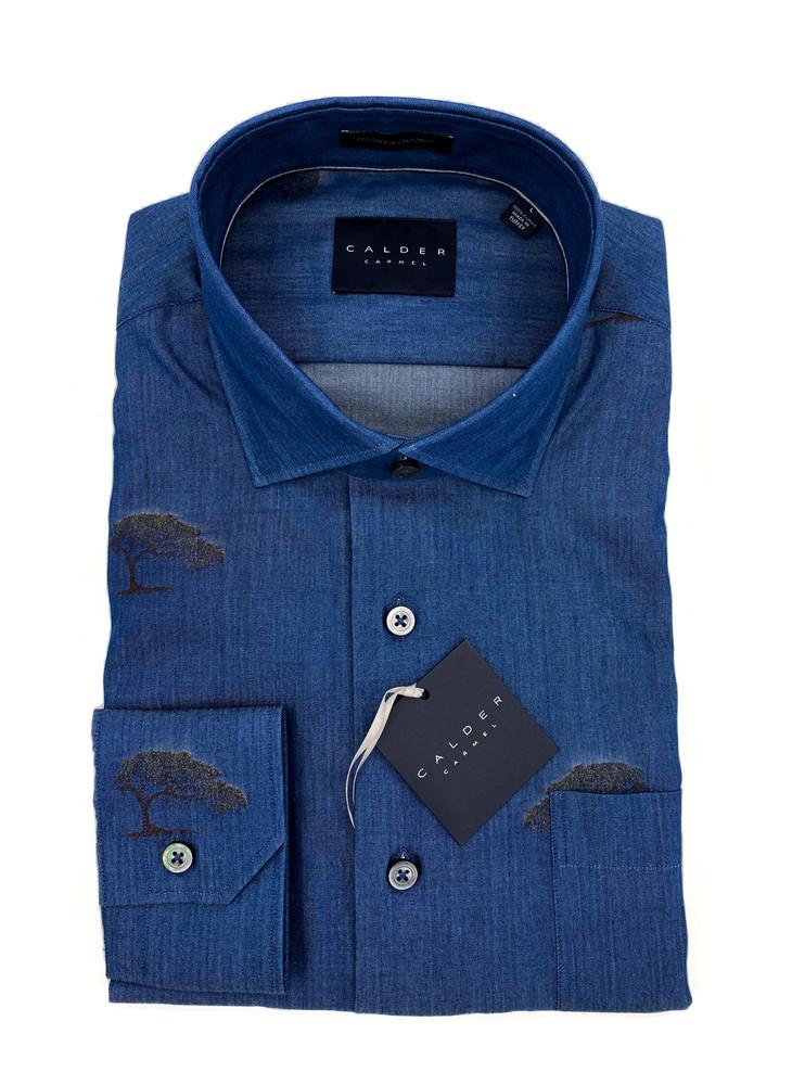 Luxury Fil-Coupe Indigo Twill Sport Shirt in Indigo by Calder Carmel