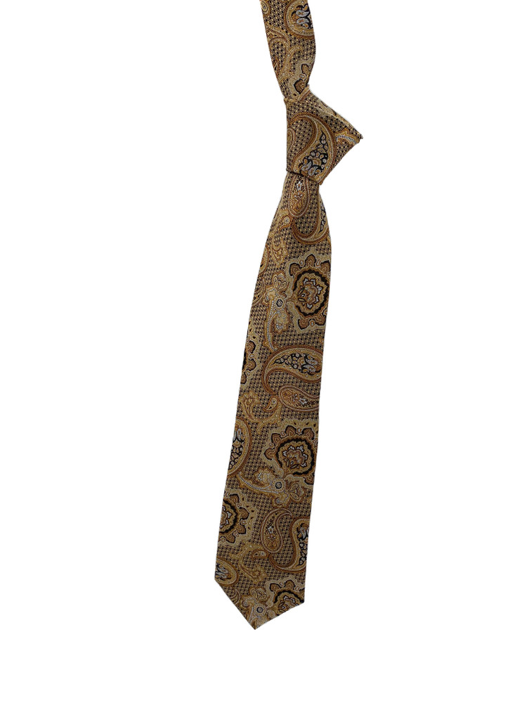 Fall 2020 Gold and Black Paisley Woven Silk Tie by Robert Jensen
