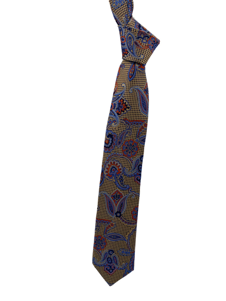 Fall 2020 Gold, Blue and Orange Paisley Woven Silk Tie by Robert Jensen